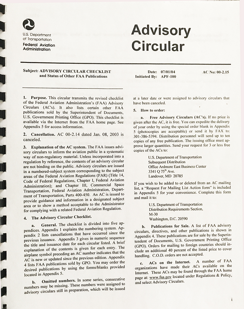 Your Advisory Circular Checklist, AC 00.2-15